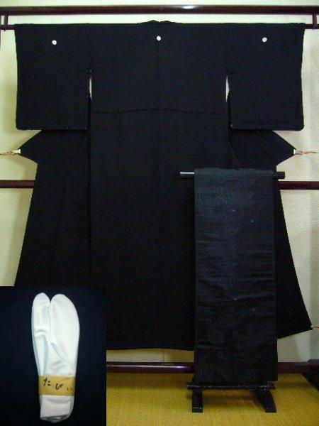 Photo1: A124A-XP Vintage Japanese Black Silk KIMONO/OBI assorted set w/White TABI socks (1)