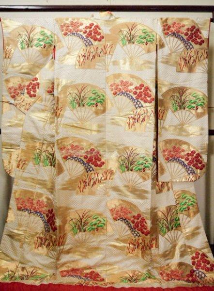 Photo1: F1202E Used Japanese Kimono  Light Beige UCHIKAKE Wedding by Silk. Folding fan  (Grade A) (1)