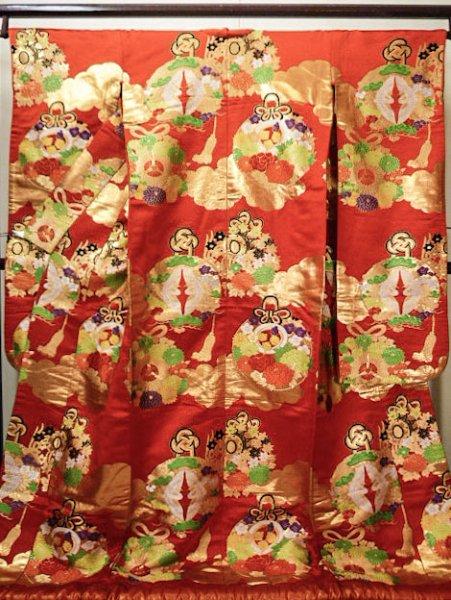 Photo1: G0805E Used Japanese Kimono   Red UCHIKAKE Wedding by Silk. TSUDUMI hand drum  (Grade B) (1)