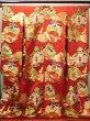 Photo2: G0805E Used Japanese Kimono   Red UCHIKAKE Wedding by Silk. TSUDUMI hand drum  (Grade B) (2)
