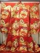 Photo3: G0805E Used Japanese Kimono   Red UCHIKAKE Wedding by Silk. TSUDUMI hand drum  (Grade B) (3)