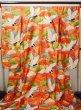 Photo2: G0805I Used Japanese Kimono  Shiny Vermilion UCHIKAKE Wedding by Silk. Crane  (Grade A) (2)