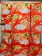 Photo1: G0805S Used Japanese Kimono   Vermilion UCHIKAKE Wedding by Silk. Folding fan  (Grade A) (1)