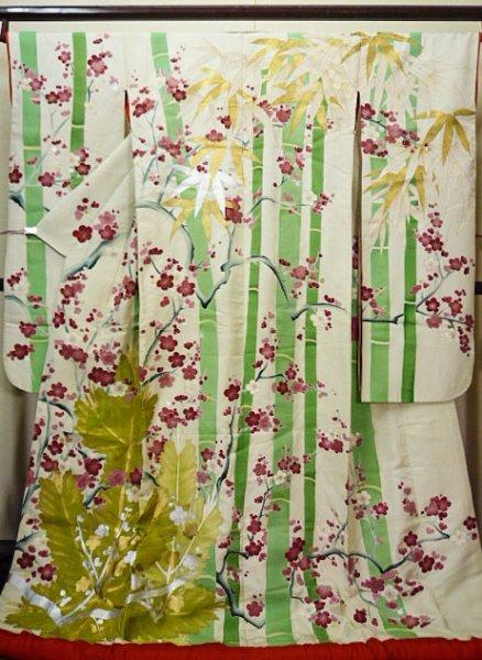Photo1: G0826B Used Japanese Kimono  Smoky Off White UCHIKAKE Wedding by Silk. UME plum bloom  (Grade C) (1)
