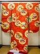 Photo3: G0826E Used Japanese Kimono  Dark Vermilion UCHIKAKE Wedding by Silk. Circle, Bottom is partely covered,  (Grade B) (3)
