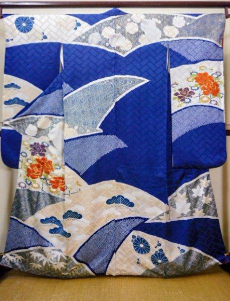 Photo1: I0107L Used Japanese Kimono   Blue FURISODE long-sleeved / Silk. Flower  (Grade A) (1)