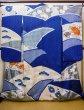 Photo2: I0107L Used Japanese Kimono   Blue FURISODE long-sleeved / Silk. Flower  (Grade A) (2)