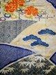 Photo6: I0107L Used Japanese Kimono   Blue FURISODE long-sleeved / Silk. Flower  (Grade A) (6)