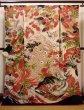 Photo1: I0107T Used Japanese Kimono  Smoky Off White FURISODE long-sleeved / Silk. Peacock, MEIJI era (Grade D) (1)