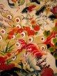 Photo8: I0107T Used Japanese Kimono  Smoky Off White FURISODE long-sleeved / Silk. Peacock, MEIJI era (Grade D) (8)