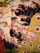 Photo13: I0107T Used Japanese Kimono  Smoky Off White FURISODE long-sleeved / Silk. Peacock, MEIJI era (Grade D) (13)