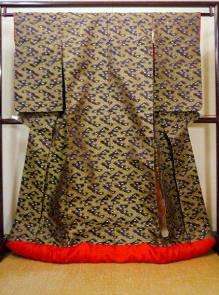 Photo1: I0112C Used Japanese Kimono Smoky Dark Purple UCHIKAKE Wedding / Silk. Crane  (Grade D) (1)