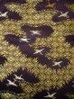 Photo5: I0112C Used Japanese Kimono Smoky Dark Purple UCHIKAKE Wedding / Silk. Crane  (Grade D) (5)