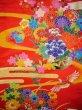 Photo5: I0112H Used Japanese Kimono  Deep Red UCHIKAKE Wedding / Silk. Crane  (Grade B) (5)
