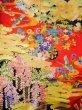 Photo17: I0112H Used Japanese Kimono  Deep Red UCHIKAKE Wedding / Silk. Crane  (Grade B) (17)