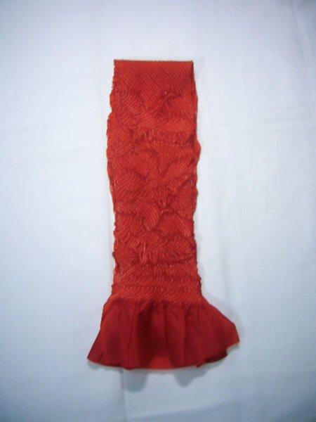 Photo1: J0203XU Used Japanese   Red OBI-AGE covering sash , For kids  (Grade B) (1)
