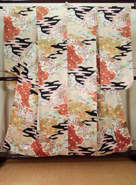 Photo1: Mint J1223D Used Japanese   Black FURISODE long-sleeved / Silk. UME plum bloom,   (Grade A) (1)