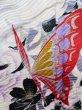 Photo10: J1225B Used Japanese   Black FURISODE long-sleeved / Silk. Leaf, rose pattern  (Grade B) (10)