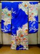 Photo2: J1225D Used Japanese Deep  Blue FURISODE long-sleeved / Synthetic. Peony,   (Grade A) (2)