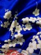 Photo17: J1225D Used Japanese Deep  Blue FURISODE long-sleeved / Synthetic. Peony,   (Grade A) (17)