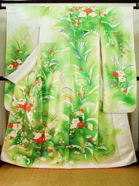 Photo1: J1225I Used Japanese   White FURISODE long-sleeved / Silk. Flower,   (Grade B) (1)