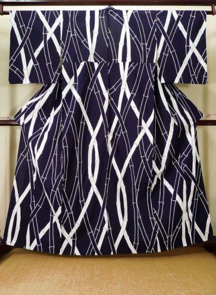 Photo1: K0426R Used Japanese   Indigo Blue YUKATA summer(made in Japan) / Cotton. Bamboo    made in 1960-1970  (Grade B) (1)