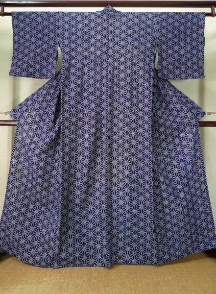 Photo1: K0526B Used Japanese   Indigo Blue YUKATA summer(made in Japan) / Cotton. Hemp leaf Arimatsu-Shibori, made in 1980-1990  (Grade D) (1)