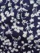 Photo7: K0527A Used Japanese   Indigo Blue YUKATA summer(made in Japan) / Cotton. Flower, made in 1970-1980  (Grade C) (7)