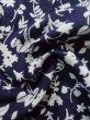 Photo11: K0527A Used Japanese   Indigo Blue YUKATA summer(made in Japan) / Cotton. Flower, made in 1970-1980  (Grade C) (11)