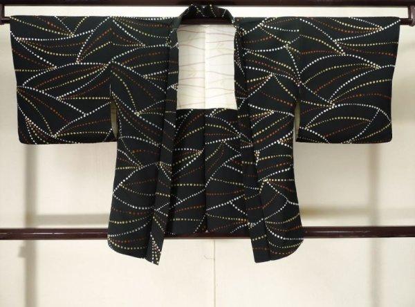 Photo1: K0609M Used Japanese   Black HAORI short jacket / Silk. Abstract pattern,   (Grade C) (1)