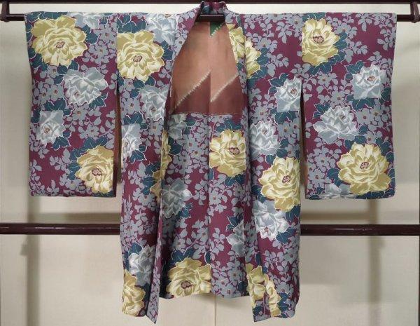 Photo1: K0712K Used Japanese   Purple HAORI short jacket / Silk. Peony,   (Grade B) (1)