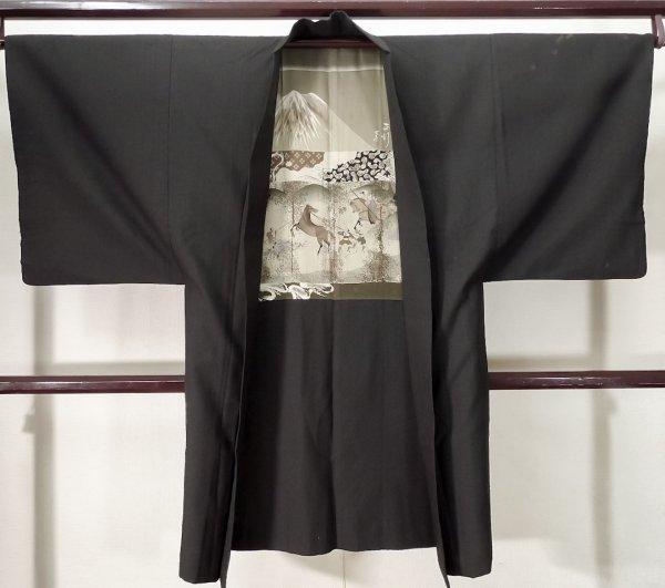 Photo1: K0712S Used Japanese Deep  Brown HAORI short jacket / Silk.    (Grade D) (1)
