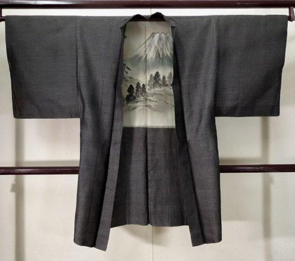 Photo1: K0712U Used Japanese Heather  Black HAORI short jacket / Silk. Line,   (Grade D) (1)