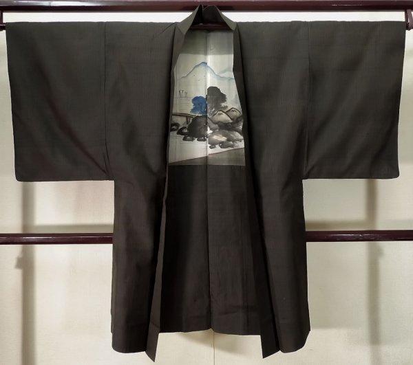 Photo1: K0712Z Used Japanese Deep  Brown HAORI short jacket / Silk. Stripes   (Grade D) (1)