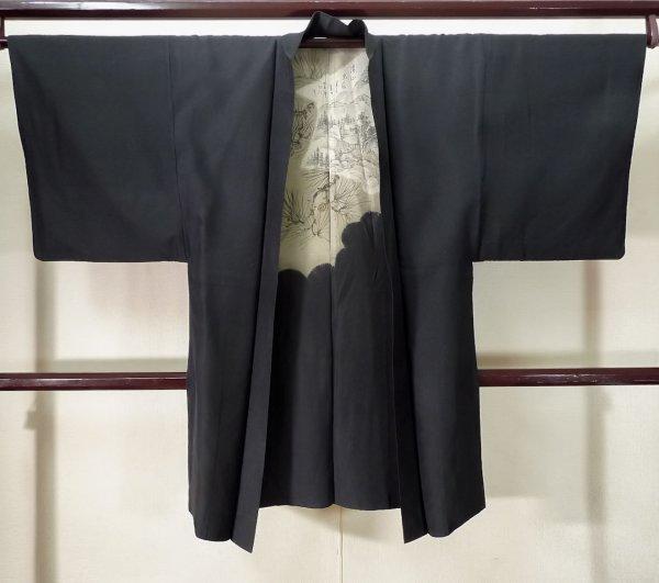 Photo1: K0713C Used Japanese   Black HAORI short jacket / Silk.    (Grade C) (1)