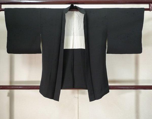 Photo1: Mint K0714F Used Japanese   Black HAORI short jacket / Silk.    (Grade A) (1)