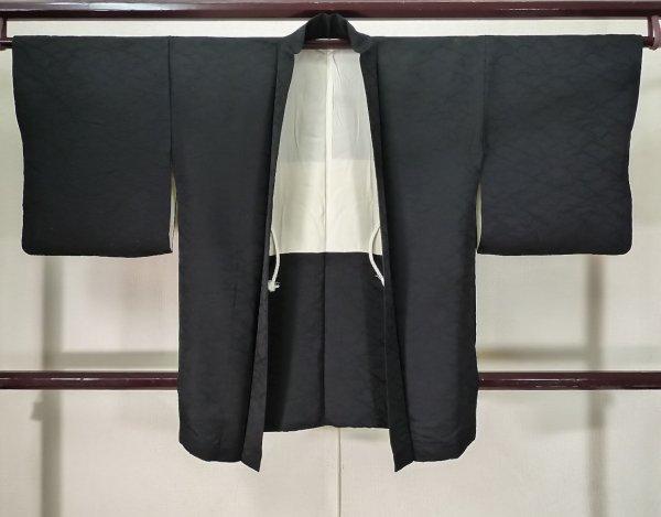 Photo1: K0714H Used Japanese   Black HAORI short jacket / Silk.    (Grade A) (1)