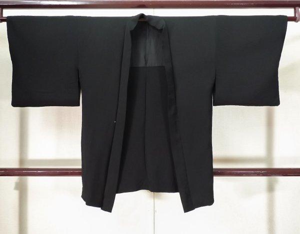 Photo1: K0714I Used Japanese   Black HAORI short jacket / Silk.    (Grade D) (1)