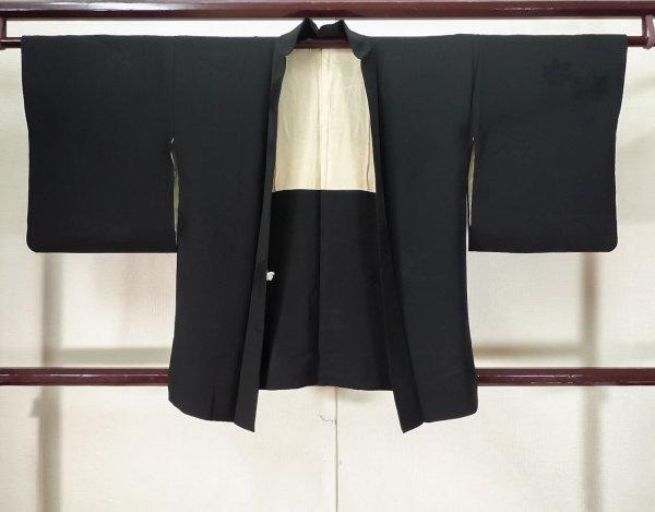 Photo1: K0714L Used Japanese   Black HAORI short jacket / Silk.    (Grade B) (1)