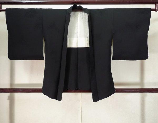Photo1: K0714N Used Japanese   Black HAORI short jacket / Silk.    (Grade A) (1)