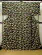 Photo1: K0728D Used Japanese Dark  Green KOMON dyed / Silk. Iris,   (Grade B) (1)