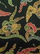 Photo7: K0728D Used Japanese Dark  Green KOMON dyed / Silk. Iris,   (Grade B) (7)