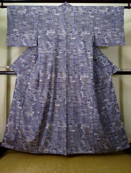 Photo1: Mint K0728E Used Japanese   Purple KOMON dyed / Synthetic. Quadrangle,   (Grade A) (1)