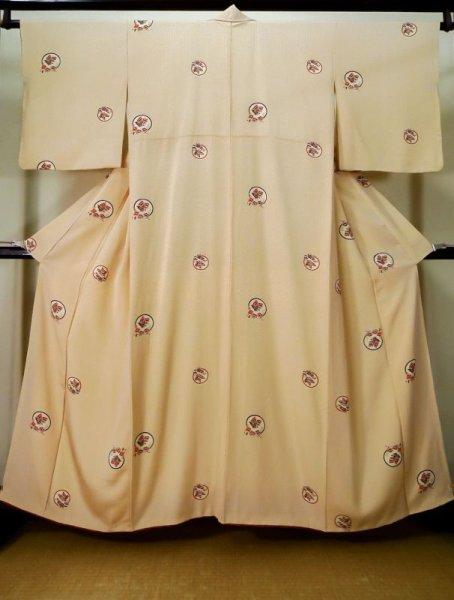 Photo1: K0728F Used Japanese   Cream KOMON dyed / Silk. Flower,   (Grade B) (1)