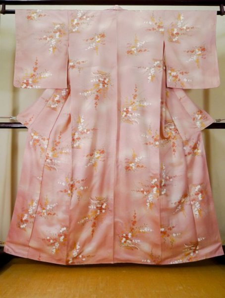 Photo1: K0728H Used Japanese Light  Pink KOMON dyed / Synthetic. Flower,   (Grade D) (1)