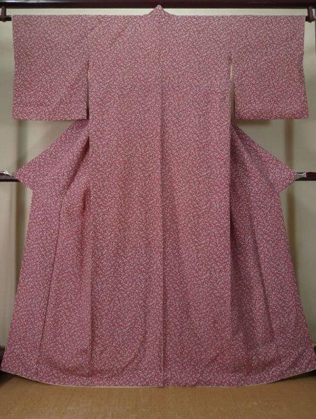 Photo1: Mint K0728S Used Japanese Reddish  Purple KOMON dyed / Silk. Flower,   (Grade A) (1)