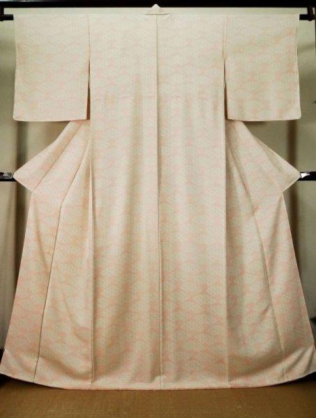 Photo1: K0804E Used Japanese Pale Light Pink KOMON dyed / Silk. Folding fan,   (Grade B) (1)