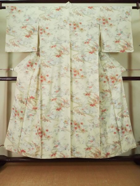 Photo1: K0804M Used Japanese   Off White KOMON dyed / Silk. Chrysanthemum,   (Grade C) (1)