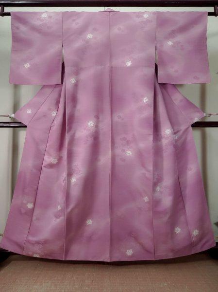 Photo1: K0804R Used Japanese Pale Light Purple KOMON dyed / Synthetic. Flower Base woven pattern: strips  (Grade B) (1)