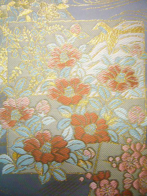 199:Japanese vintage kimono obi sash silk gorgeous embroidery gold wine blue peony castle fruits